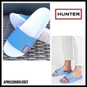 HUNTER SANDALS SPORT SLIP ON BLUE WHITE SLIDES A3C